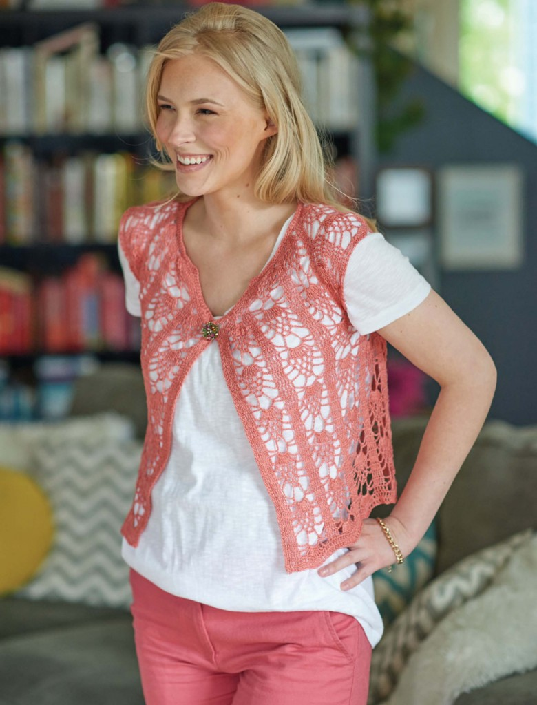 Monticello Meadow Cropped Pineapple Crochet Cardi, Continuous Crochet by Kristin Omdahl