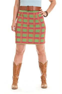 Crochet plaid makes a great skirt.