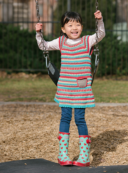 Front of the Play Day Crochet Dress with pocket