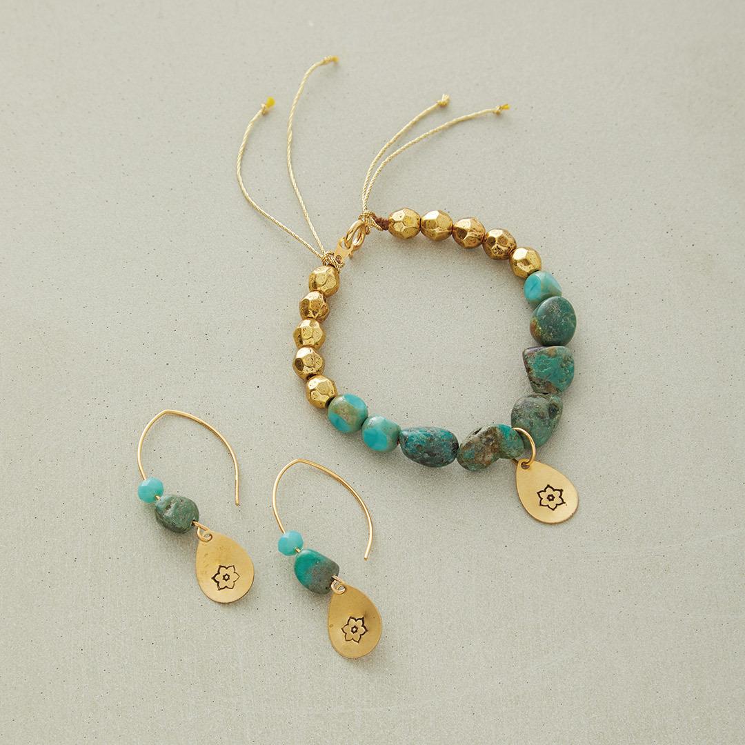 Anne Potter's Taj Mahal bead stringing design global brass turquoise