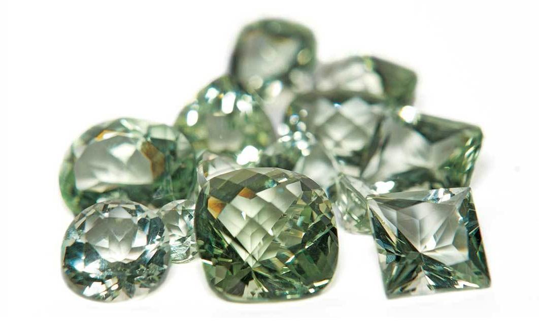 A sampling of cut prasiolite gemstones. Gems courtesy of Stuller. Photo: James Lawson.