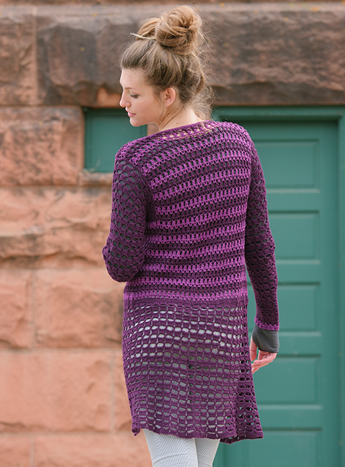 Back of Prince Cardigan crochet sweater