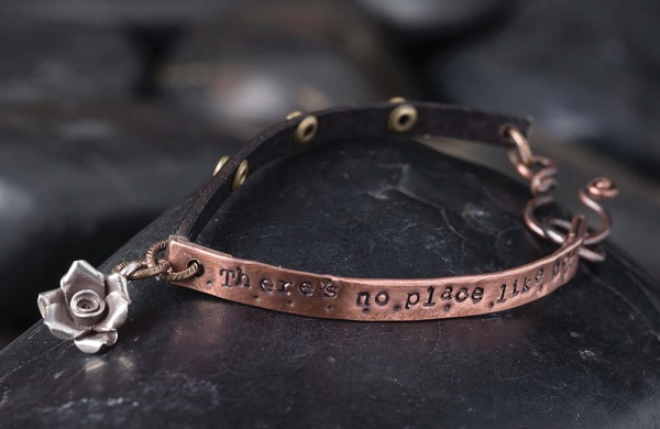 metal stamped copper tubing Quotable Bracelet by Tracy Stanley