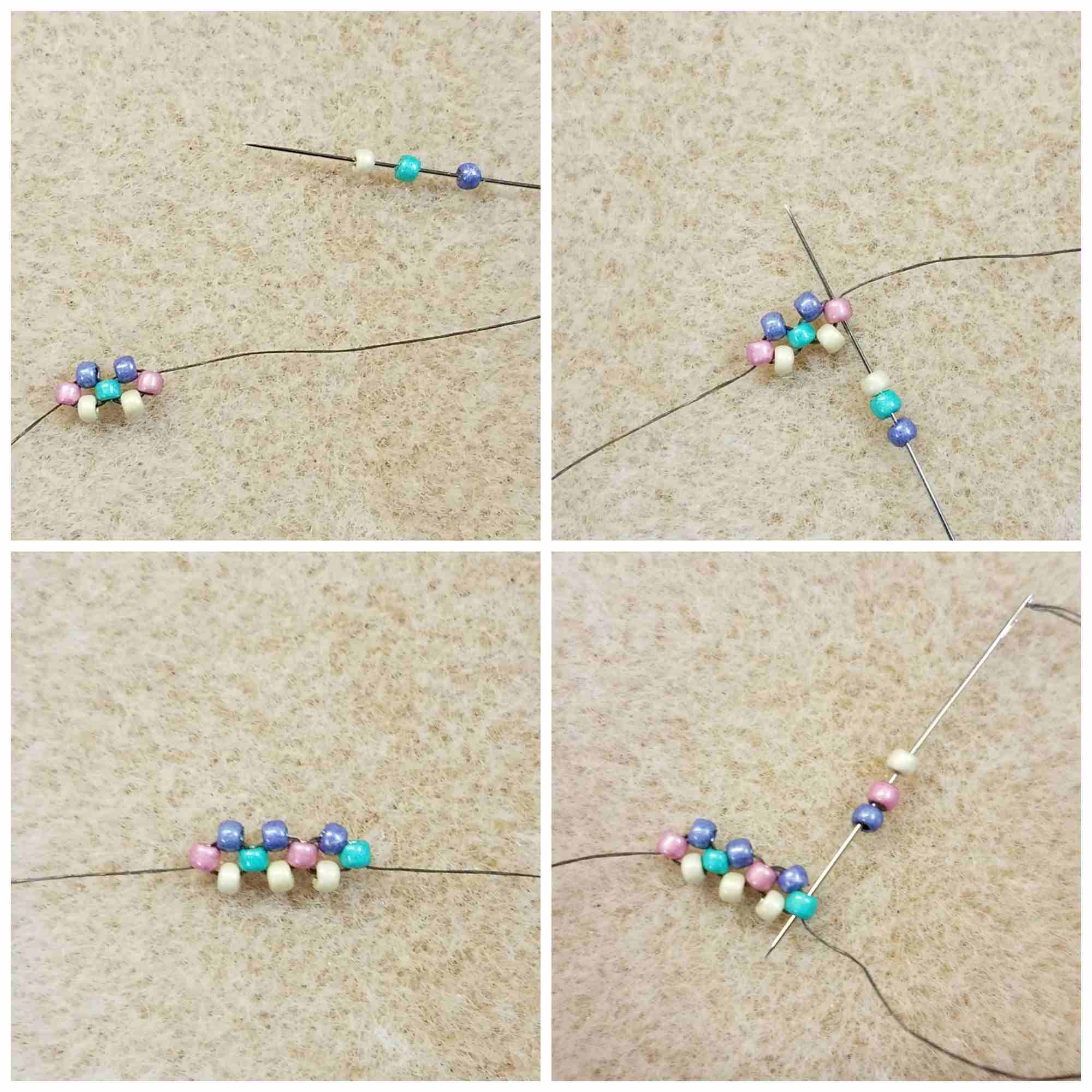 How To Stitch Right-Angle Weave steps 9-12
