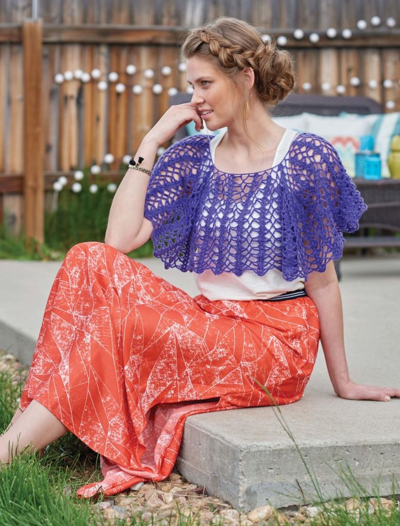 African Violets Raglan Crochet Capelet, Continuous Crochet by Kristin Omdahl