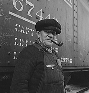 Railroad worker in overalls