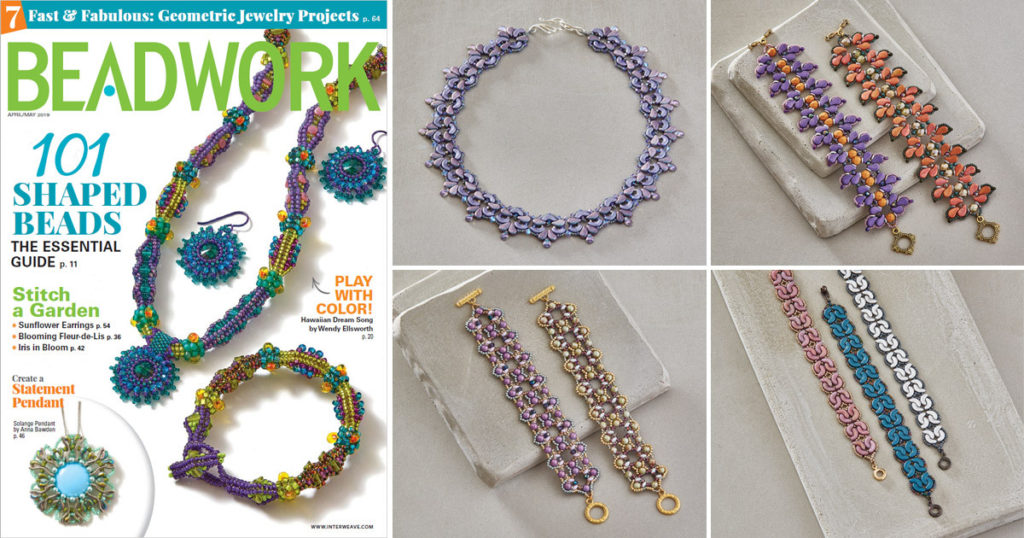right-angle weave jewelry designs from April/May 2019 Beadwork