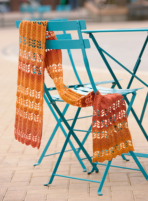 View the waves in the ripple scarf as it's draped on a chair