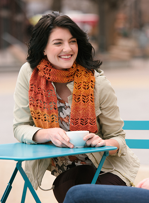 Enjoy a cuppa while wearing the ripple crochet scarf