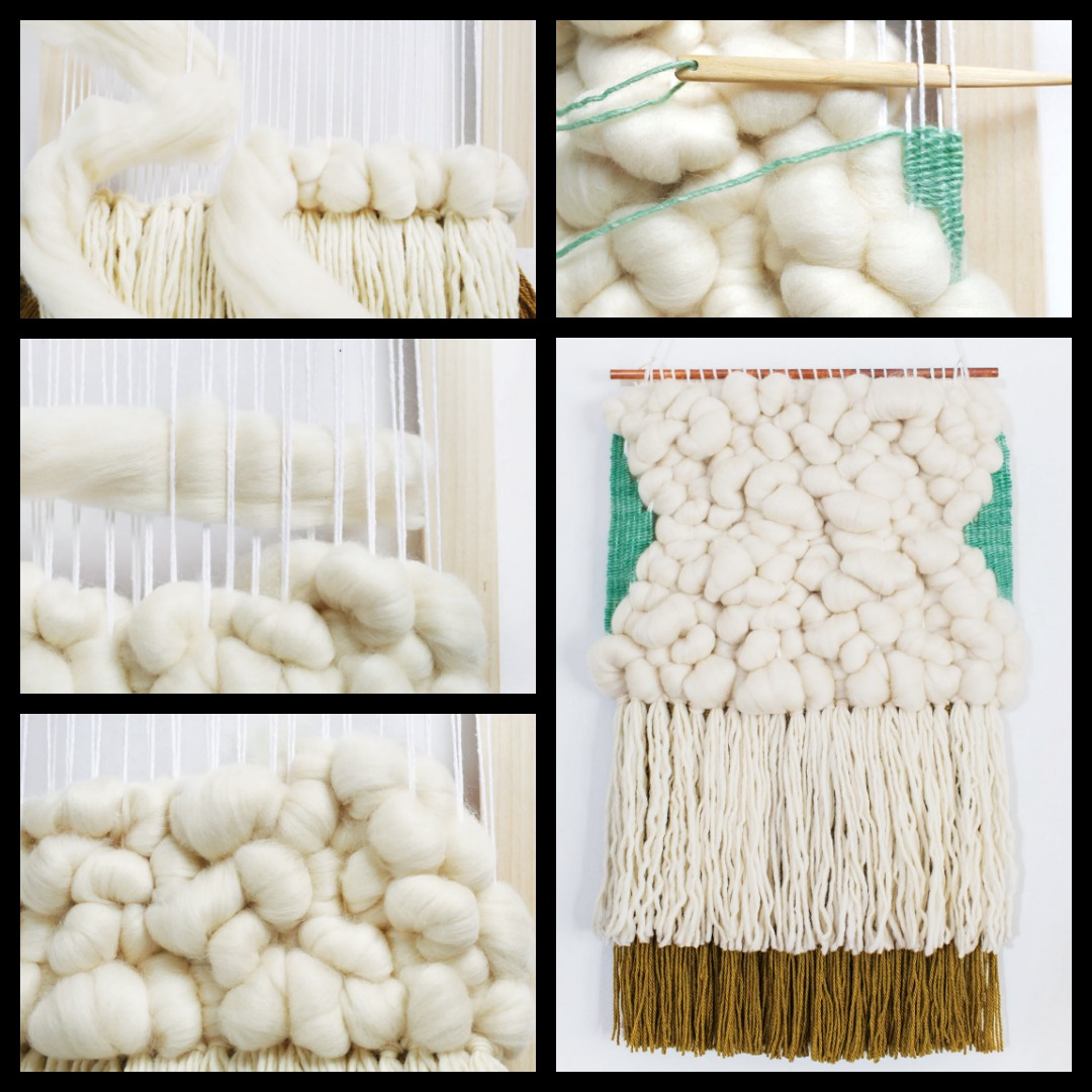 Weaving with roving is a wonderful way to add texture to your DIY wall hangings.