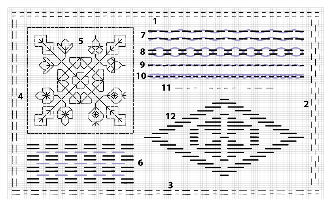 running stitch sampler