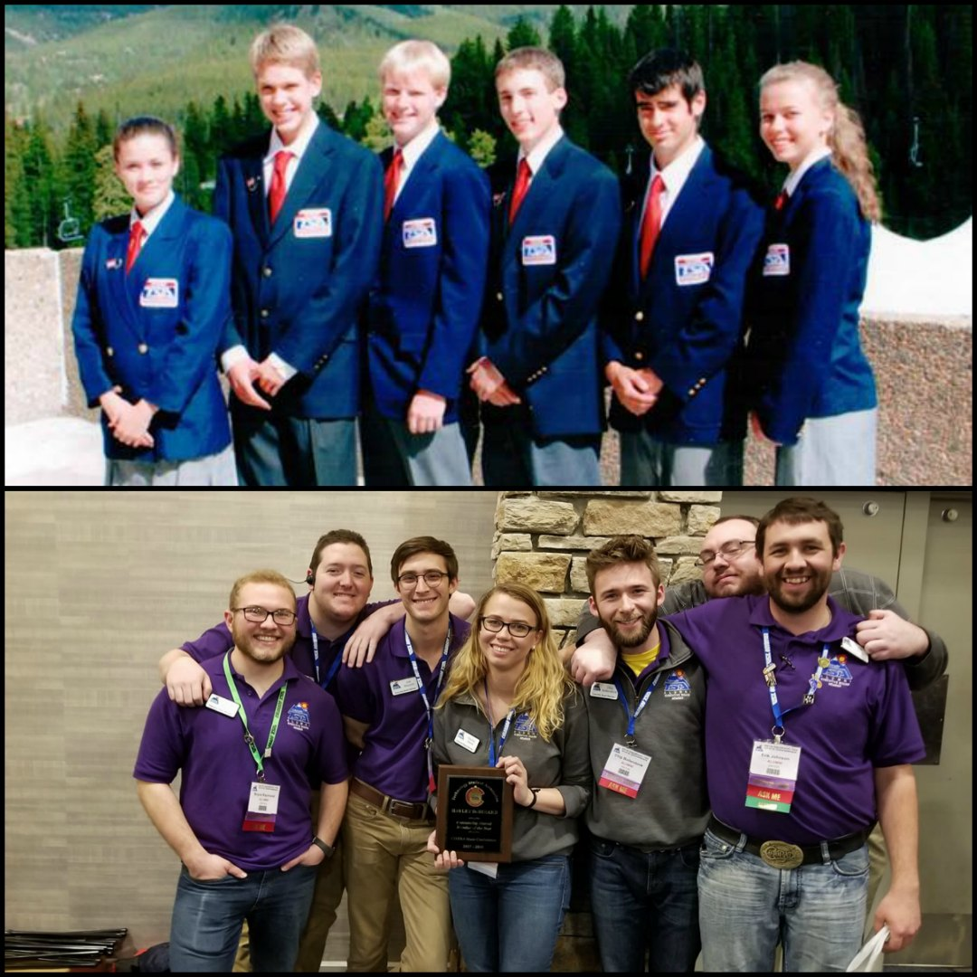 Myself as a Colorado TSA officer in 6th grade (top) and with some current alumni at the 2018 State Conference (bottom). Images courtesy of Colorado TSA.