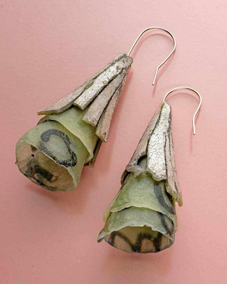 Polymer clay and silver foil earrings by Sarah Wilbanks. Photo: Jim Lawson.