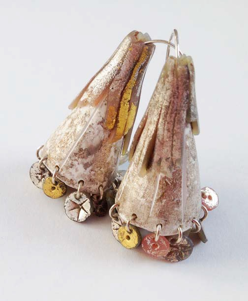 Polymer clay and silver foil earrings. Photo: Jim Lawson.