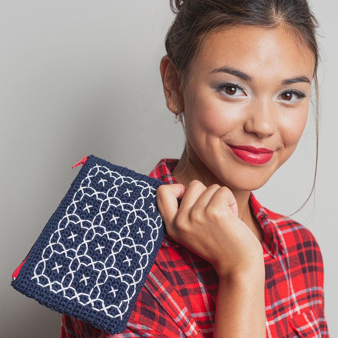 Sashiko Clutch Interweave Crochet Winter 2020