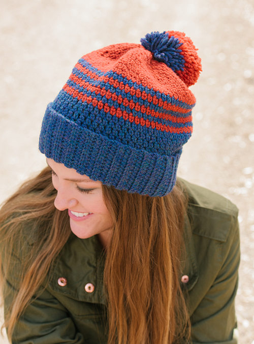 School Colors Hat with stipes and pompom