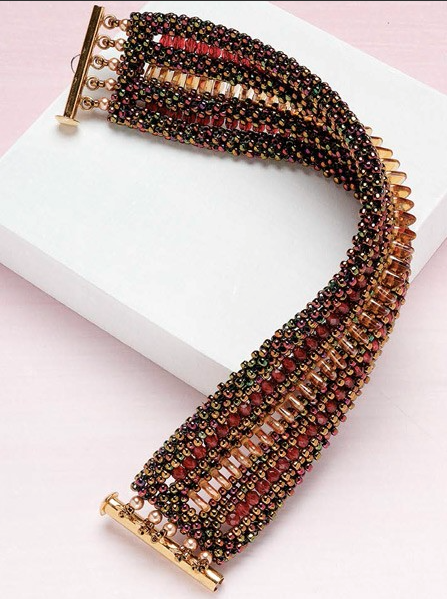 """""""Symetrie Bracelet,"""" by Lisa Kan. Art Deco inspired, symmetrical CRAW with triangle beads worked into the design."""
