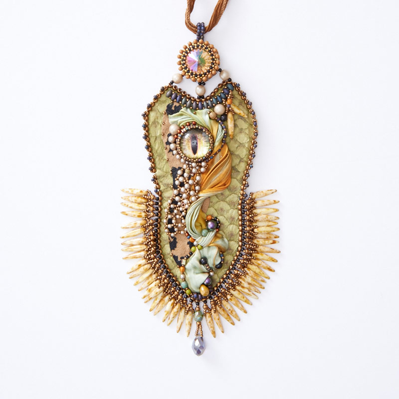 Learn All About Sherry Serafini, Bead Embroidery Goddess. Bead embroidery and shibori pendant