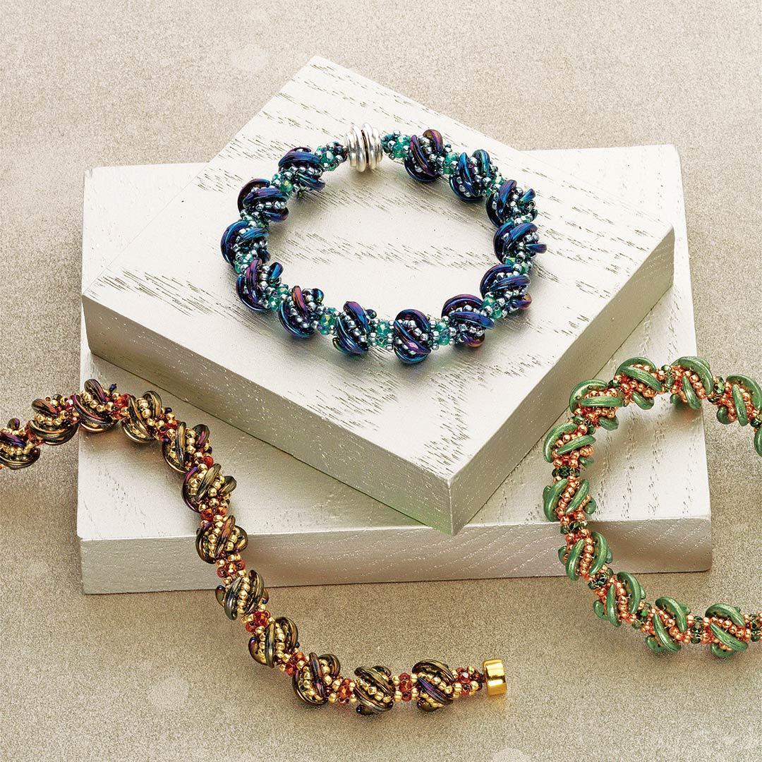 Kassie Shaw's Whirligig Bracelet using crescent beads chaped beads