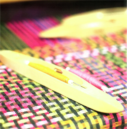 Handwoven fabric designed by Margo Shelby