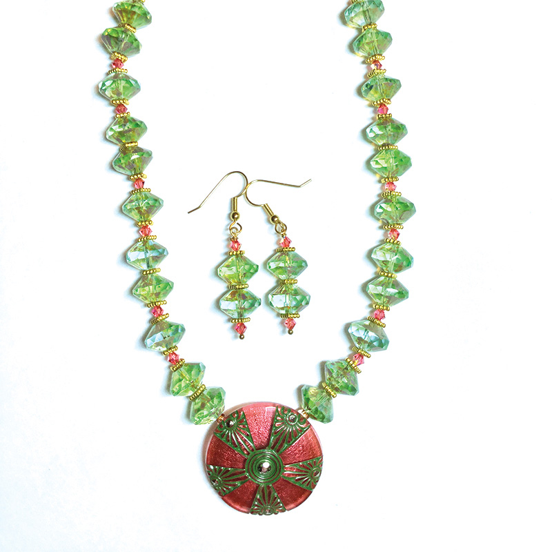 LInda Smith beaded necklace, celebrating Beadwork Magazine and 13 years of friendship with Donna Leather.