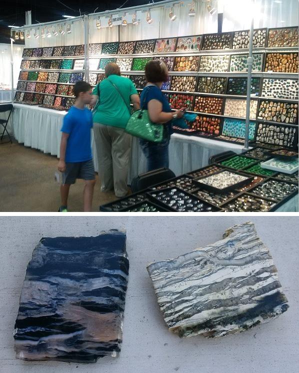 gemstone display and Arizona pietersite from Barlow Gems / Sona Inc.