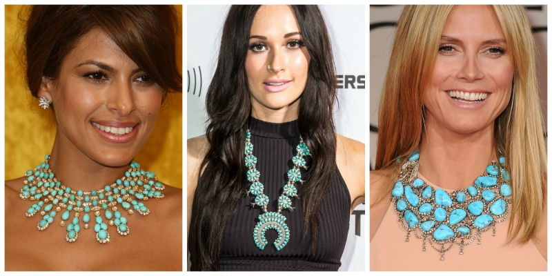 Bead Weaving a Southwest-Inspired Piece of Jewelry. Left: Eva Mendes, photo by Steve Granitz/WireImage/Getty Images; Center: Kacey Musgraves, photo by Roger Kisby/Getty Images; Right: Heidi Klum, photo by Steve Granitz/WireImage/Getty Images