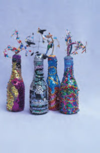 The Spangled Island Bottle is a bead craft project found in our free Bead Craft Patterns eBook.