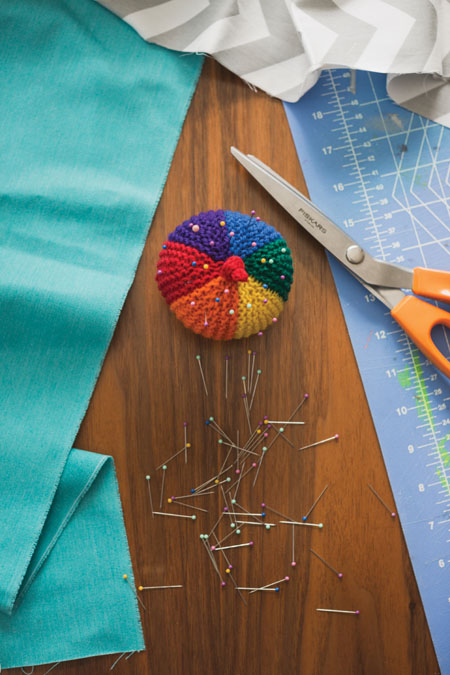 You can now make the Spectrum Pincushion, a knitted pincushion pattern, that's an easy and quick short-row knitting project to practice on.