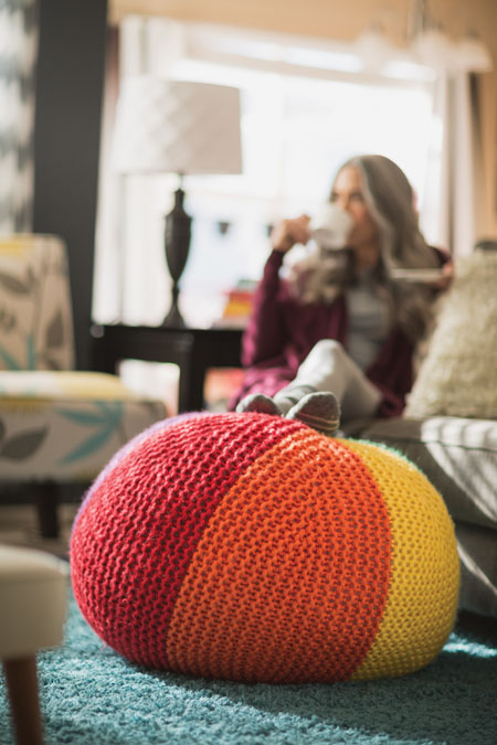 knit pouf ottoman pattern