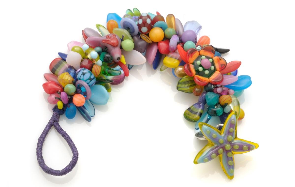 Spiny Knotted lampwork glass bead Bracelet by Stephanie Sersich.