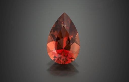 This 4.23-carat pear-shaped Oregon sunstone would be a delight to find and worth turning over a few rocks. However, this color is much rarer in Oregon gemstones than the yellows. Photo Mia Dixon, courtesy Pala International.