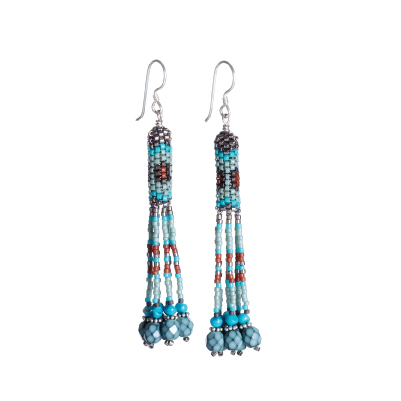 Mary Tofoya's Peyote Tassel Earrings feature classic Native American style.