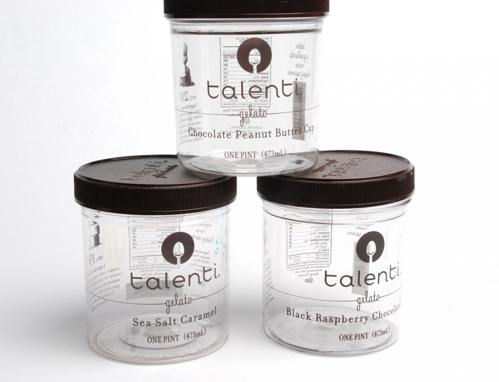 Talenti jars cleaned and ready for label removal