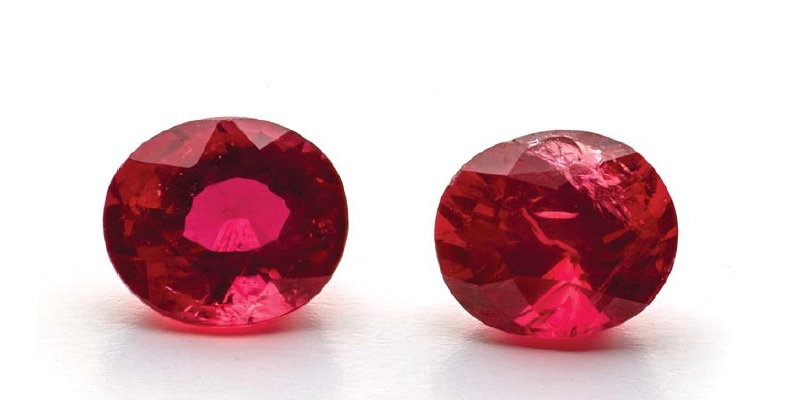 Tanzanian natural rubies Red with a hint of blue, these stones are small at 1.05ct each. Possible stones include garnet, ruby, or rubellite, but garnet and rubellite are not quite this color and are larger.