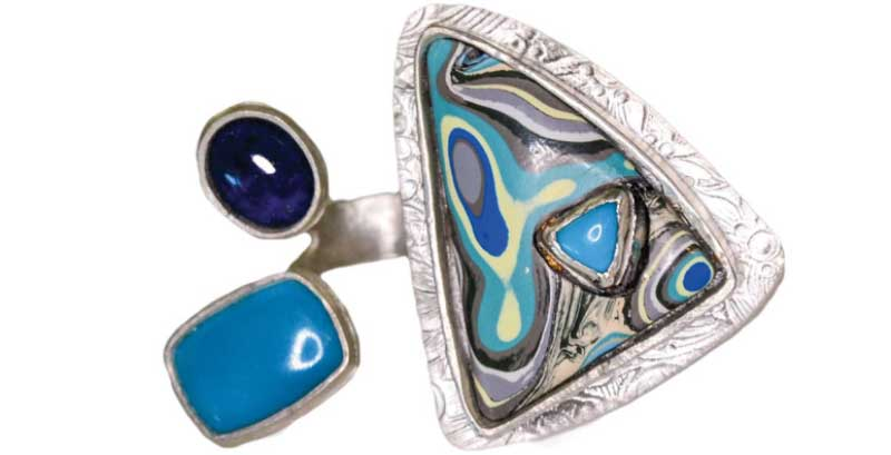 Veteran and jewelry designer Tara Hutchinson Fordite ring