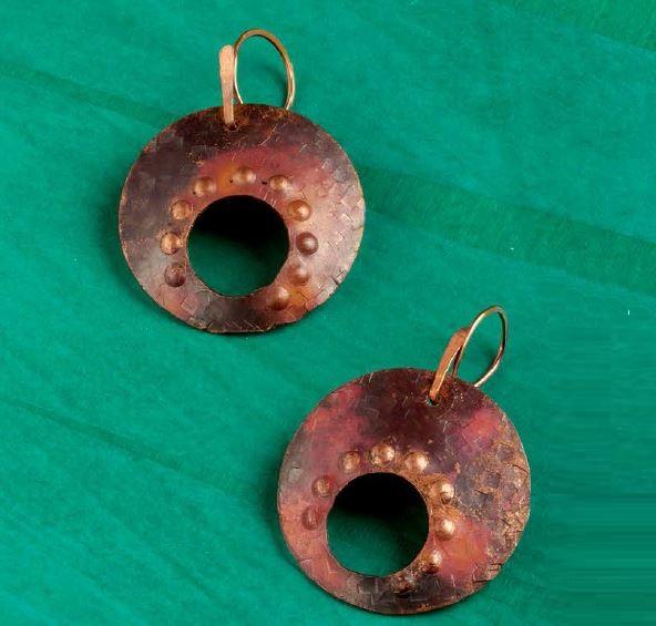 Terracotta Sunset earrings by Denise Peck: easy metal jewelry making