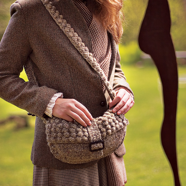 Front Side of Crochet Fabric: Textured Tweed Clutch