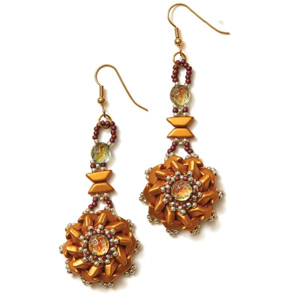 Tinos Flower Earrings Gold Colorway