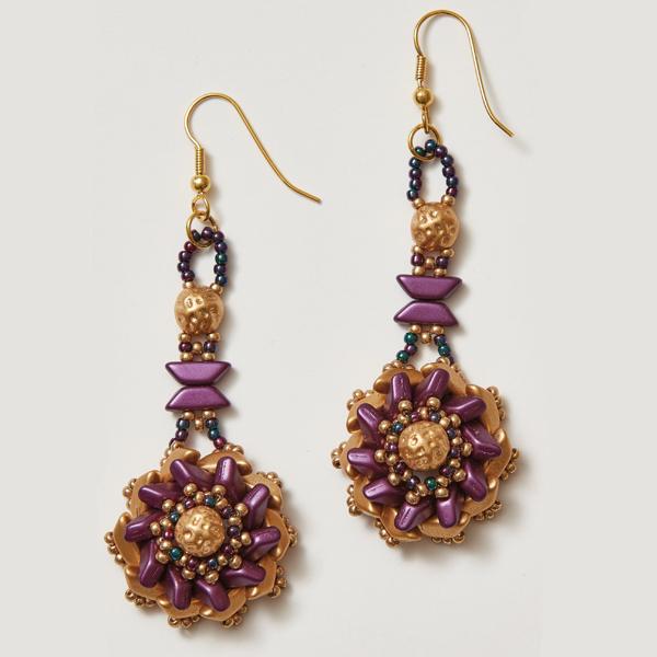 Tinos Flower Earrings Purple Colorway