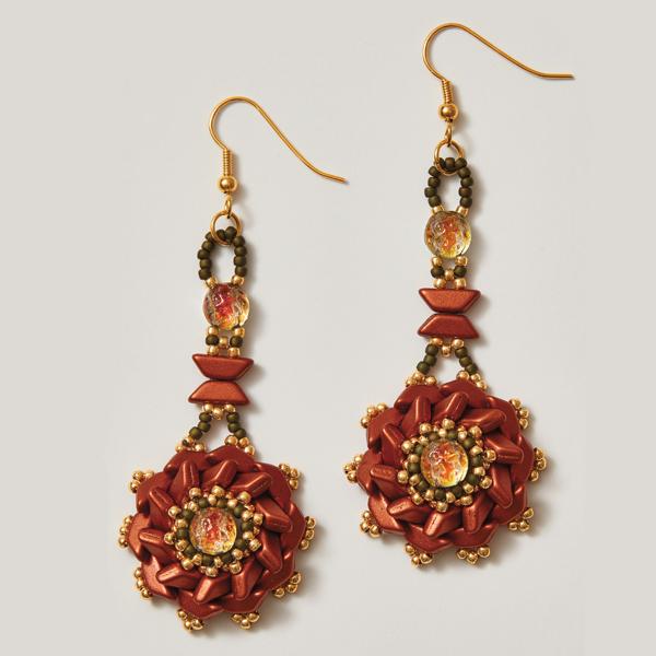 Tinos Flower Earrings Red Colorway