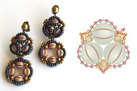 5 Beaded Jewelry Components You Need in Your Arsenal. Trefoil earrings by Melinda Barta, beadweaving expert.