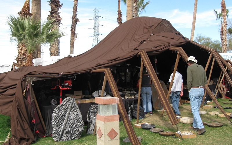 shopping for gems and fossils in a tent at the Tucson gem shows