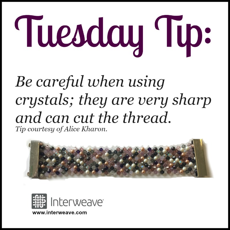 #TuesdayTip: Be careful when using crystals; they are very sharp and can cut the thread.