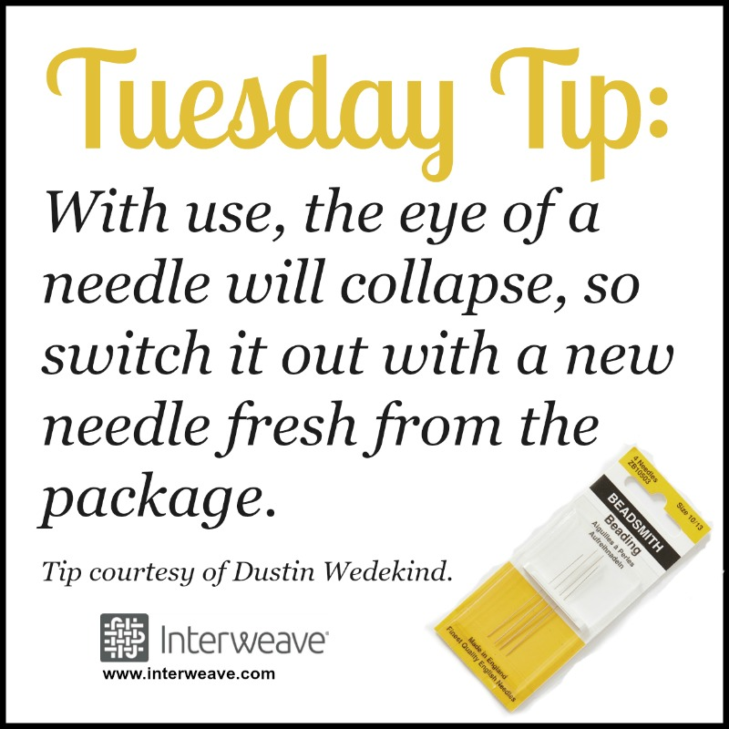 With use, the eye of a needle will collapse, so switch it out with a new needle fresh from the package. Tip Courtesy of Dustin Wedekind.