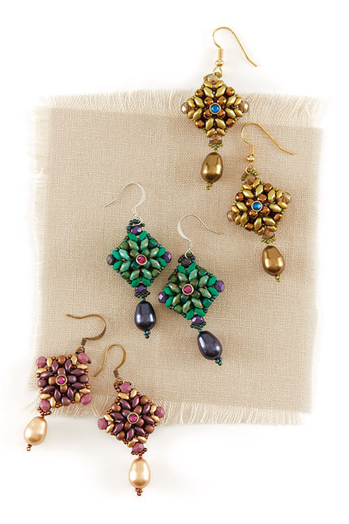 Two In One Earrings from Quick + Easy Beadwork 2017 by Agnieszka Watts beaded jewelry gifts