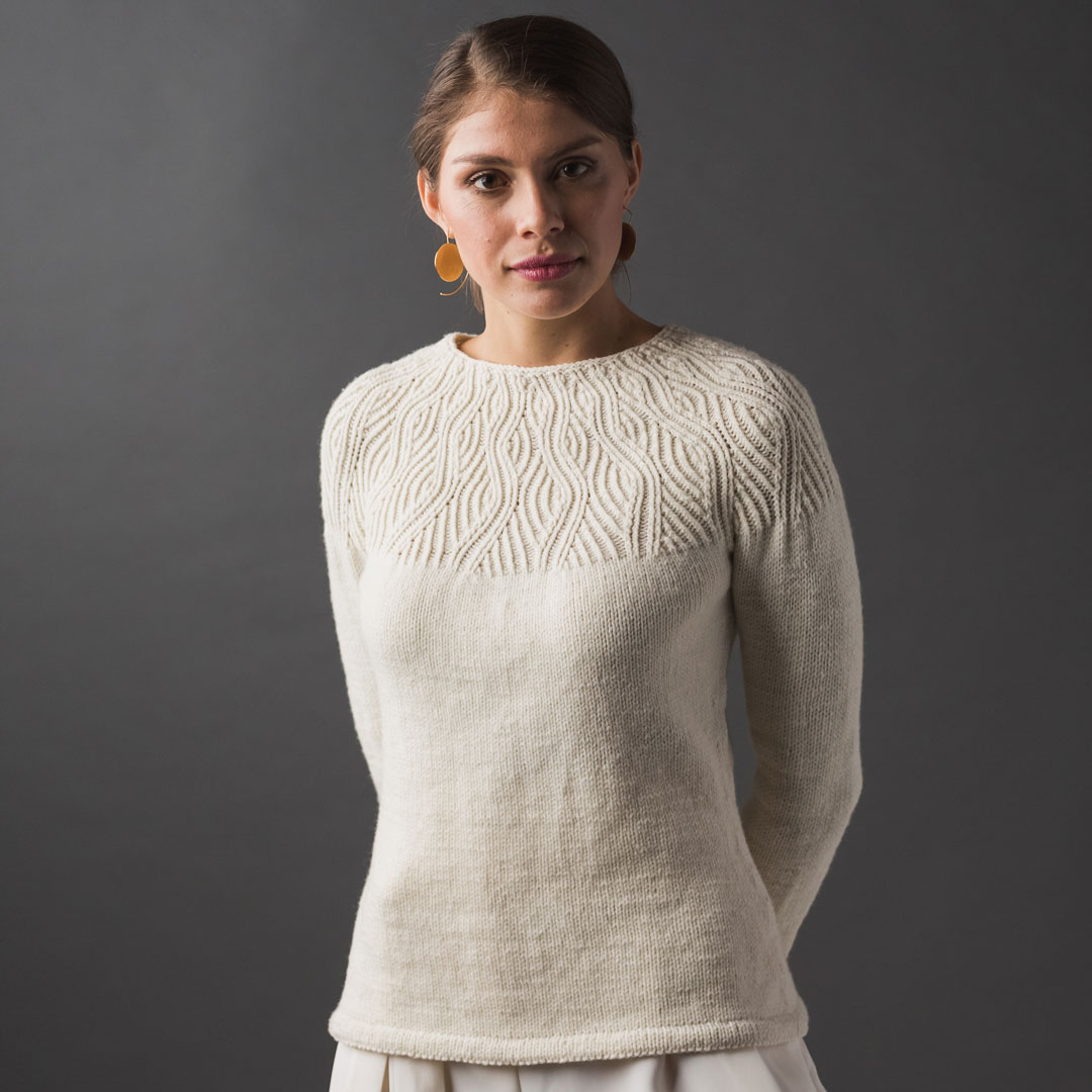 The Undulating Lines sweater knitting pattern is a gorgeous choice for cold weather.
