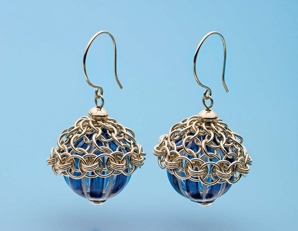 Kylie Jones's Venetian glass earrings with chain maille bead caps