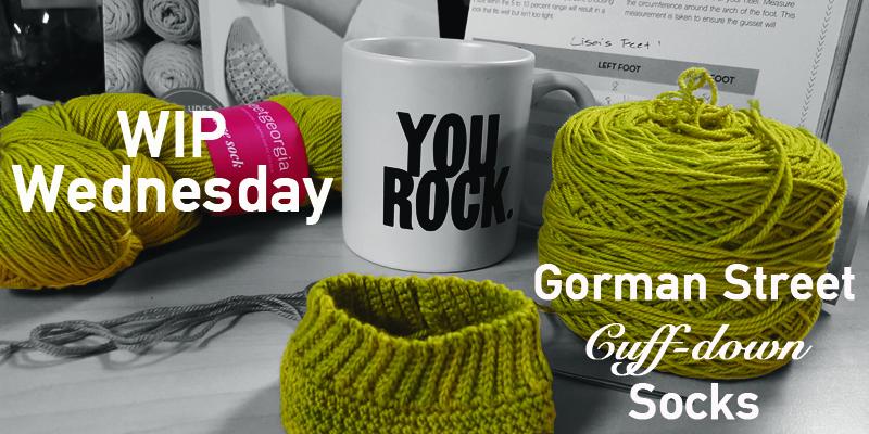 WIP Wednesday – Lisa's Gorman Street Cuff-down Socks