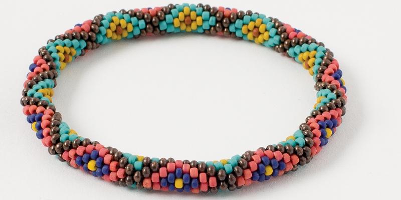 Bead Weaving a Southwest-Inspired Piece of Jewelry. Katie Wall's bead crocheted Diamondback Bangle